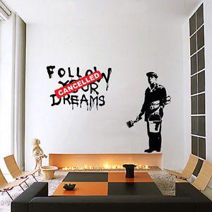 Banksy Dreams Cancelled Wall Decal Sticker Vinyl Street Art Graffiti Decor Rat