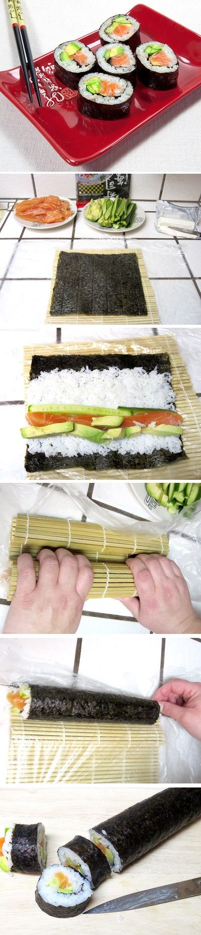 A step by step tutorial how to make sushi rolls at home. Click for recipe: | http://yummycupcakescollections.blogspot.com