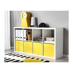 IKEA - KALLAX, Regal, Hochglanz weiß, , Sieht von allen Seiten gut aus und kann auch als Raumteiler benutzt werden.