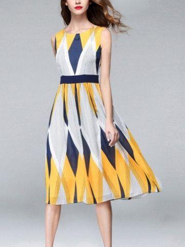 0297b751c20 Multicolor Sleeveless Geometric Printed Midi Dress in 2019