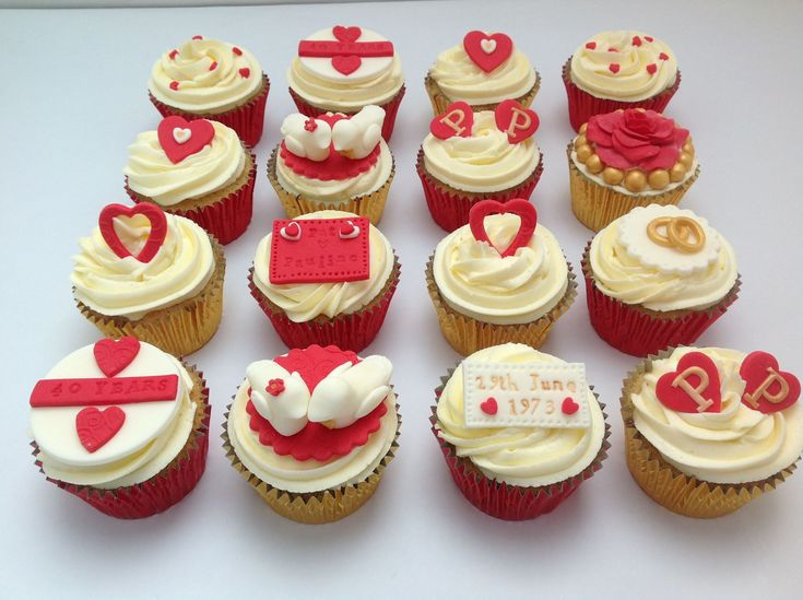Cupcake Decorating Ideas For Anniversary : 40th Wedding Anniversary Cupcakes by Fancy Fondant ...