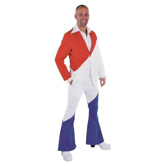 Holland broek en colbert voor heren. Jaren 70 kostuum in de Nederlandse kleuren. Dit kostuum bestaat uit de broek en het colbert.