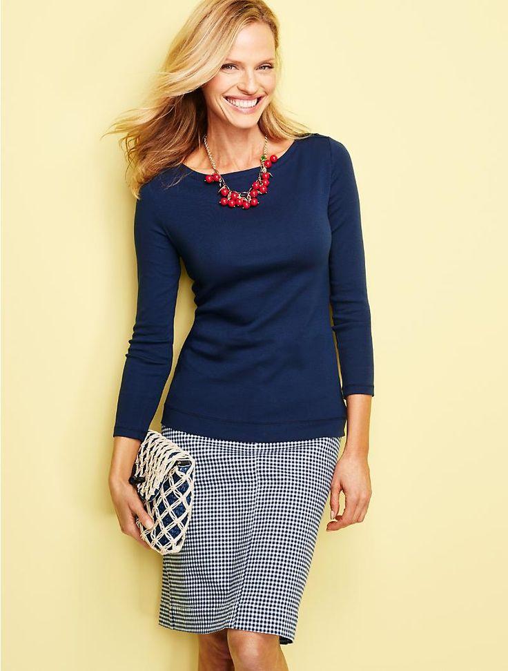 Denim A-Line Skirt-Gingham Checks - Talbots