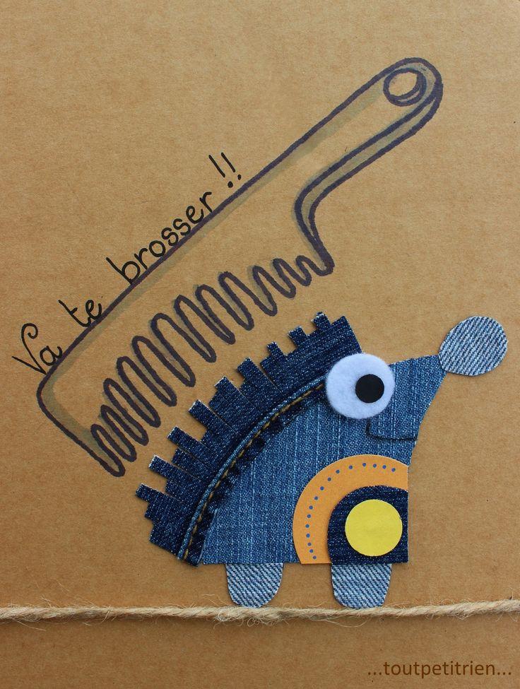 Va te brosser !! #jeans #recycle fleurysylvie / www.toutpetitrien.ch                                                                                                                                                                                 Plus