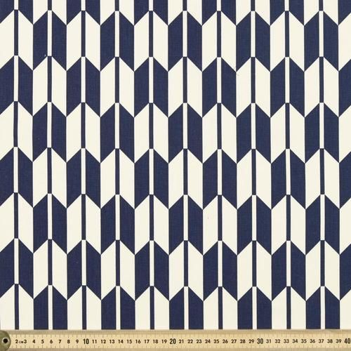 Japanese Chevron Duck Navy 112 cm