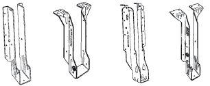 Connecteurs pour poutres en I :    Ces étriers sont conçus pour les poutres en I et permettent la fixation de bois sur bois ou de bois sur maçonnerie.  Ils sont utilisés pour la réalisation rapide et simple de planchers, toitures, terrasses et chevêtres. Leurs brides supérieures garantissent un alignement parfait entre la solive et l'élément porteur.