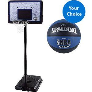 "Lifetime 44"" Height-Adjustable Portable Basketball Hoop w/ Bonus* Spalding BasketBall"