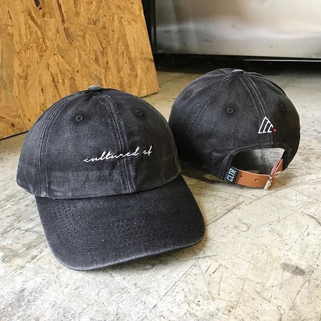 Custom 6 Panel Baseball Hats for CULTURE CLOTHING CO (@cultureclothingcompany) -/- Faded Black Cotton Twill with a premium leather closure. Branding including front 2d embroidery, back flat embroidery, closure label ⠀ #delusionmfg #headwear #hats #hat #manufacturing #streetwear #hypebeast #floppyhats #dadcap