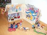 Playmobil Haus (Bauernhaus) mit Kutsche und Tieren (Pferde, Hunde, Katze)