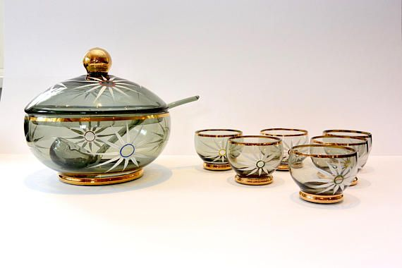 Antiek Boheems Punch Bowl Set | Gerookte glas met gouden rand, Hand geschilderd bloemen | Vintage Boheems glas | Partij Cocktail | Voltooien