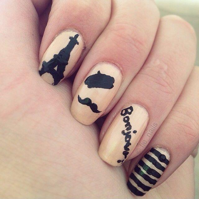 French nails 🇫🇷 #frenchnails #french #moustache #stripes #eiffeltower #bonjour #nailart #nailporn #nails #cute #simple #freehand #paint #blackdiamond #girl #girly #polish #nailpolish #pretty #nailstagram #ilnpfeature #ilovenailpolish #staypolished #manimonday #mandagsmani #ididit #nailitdaily #nailart