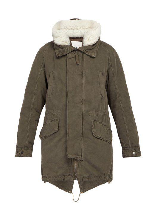 Parka Grey cloth Yves yvessalomon Cotton Mens Salomon Lined Shearling wTxnZIYqR
