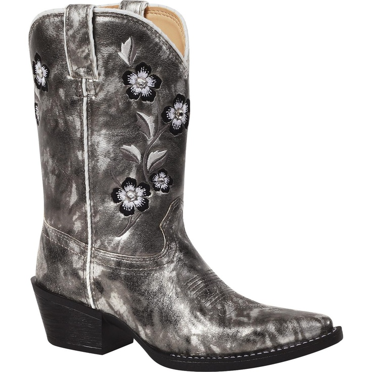 "Lil' Durango: 8"" Silver Embellished Pull-On Western Boots for Kids – Style #BT298 - Durango Boot Company"