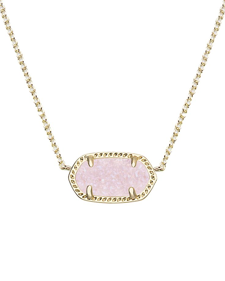Whether layered with a statement necklace or worn on its own, our classic Elisa Pendant Necklace in Light Pink Drusy is a delicate accessory that will soon be your favorite go-to.