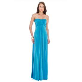 vestido largo azul claro palabra de honor