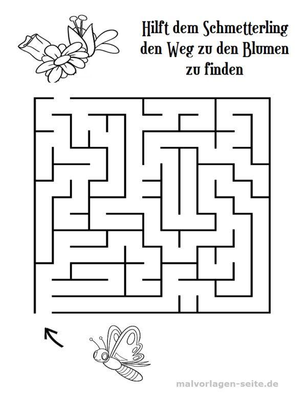 irrgarten labyrinth für kinder  kostenlose ausmalbilder