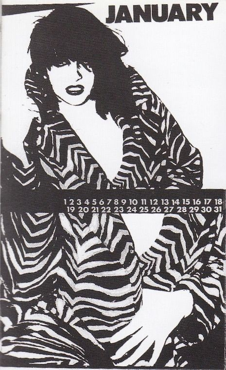 """This """"fashion calendar"""" featuring Lydia Lunch, queen of New York's no wave movement of the late 1970s, was executed by Julia Gorton for a class at Parsons School of Design in 1978. This was the same year that the seminal No New York compilation was released, including key contributions from Teenage Jesus and the Jerks, of which Lunch was the frontperson. Gorton, who today is a professor at Parsons, also designed flyers for Teenage Jesus and the Jerks, such the following:   This calenda..."""