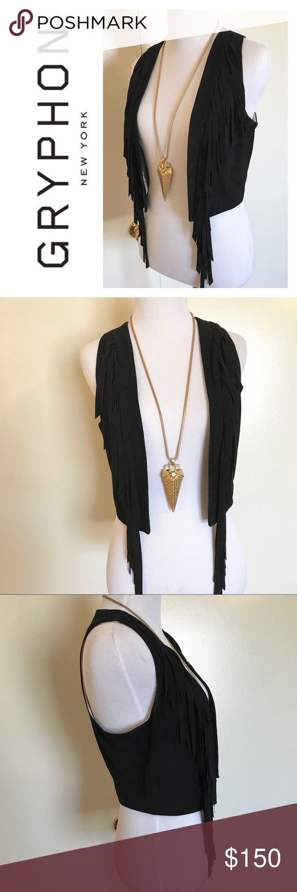 GRYPHON - Black Suede Fringe Vest - Sz. M Seriously chic black suede Gryphon New York vest. In very good condition. Runs true to size. Has a few spots on the inside lining which is not visible when wearing. 100% leather. Perfect for festivals or as a layer to a simple outfit! Gryphon Jackets & Coats Vests