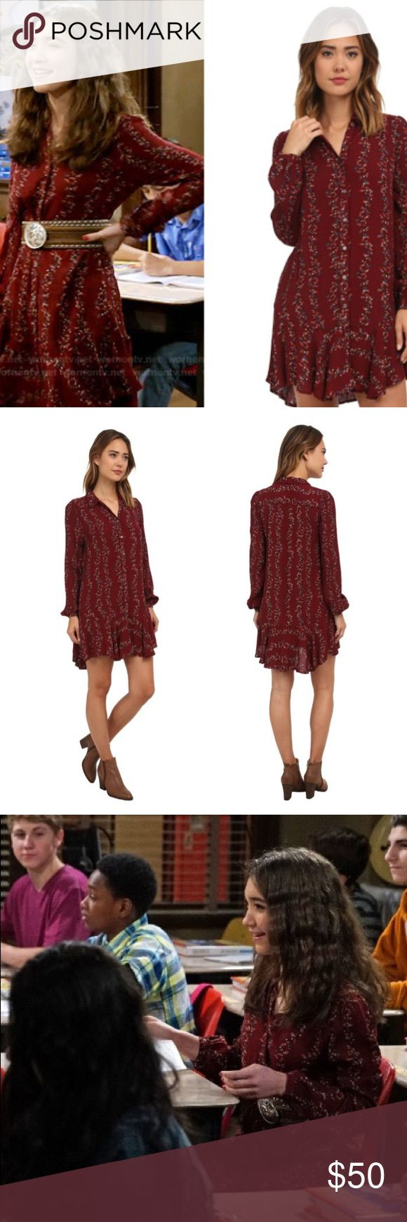 Free People cranberry shirt dress size small Free People as seen on girl meets world  Women's Cranberry Red Slubby Crinkle Button Down Shirtdress - Smoke Combo size small pre loved condition Free People Dresses Mini