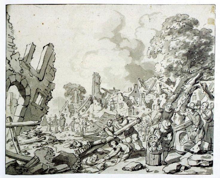 Gerbrand van den Eeckhout, Delft na de explosie van de kruitfabriek 12 oktober 1654