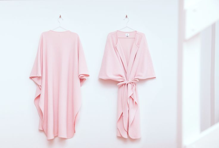 Pink Power Poncho in studio apartment