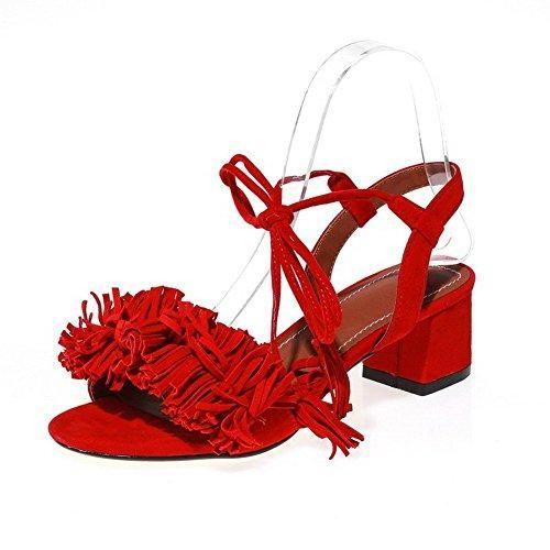 Oferta: 63€ Dto: -21%. Comprar Ofertas de AllhqFashion Mujeres Puntera Abierta Tacón ancho Esmerilado Sólido Cordones Sandalia, Rojo, 36 barato. ¡Mira las ofertas!