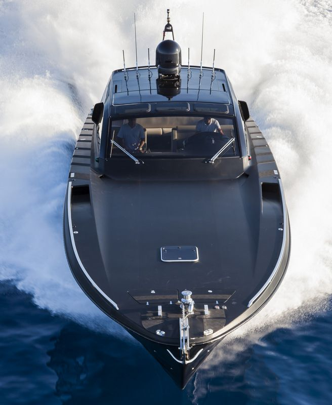OTAM 58 HT 'CRAZY TOO' luxury yacht chase boat – front view – Photo by Alber…