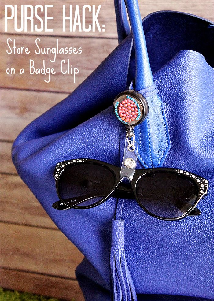 Use a badge clip to store your sunglasses when not in use while traveling! #99YourSummer with these simple Summer Vacation Hacks that'll save you dollars and headaches! #DoingThe99