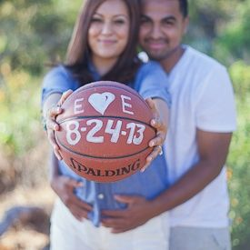This lovely couple chose to incorporate their love for basketball into a themed save the date. (Image: Laura Hernandez Photography)
