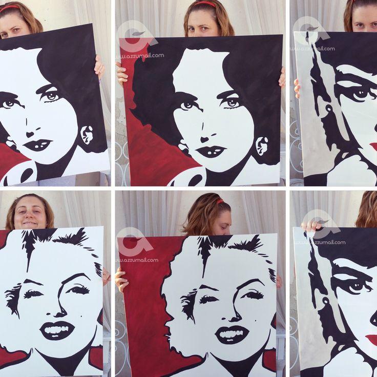 Trittico quadri Pop Art ritratti delle celebrità di Hollywood! Liz Taylor, Audrey Hepburn e Marilyn Monroe dipinti a mano su telaio da galleria.