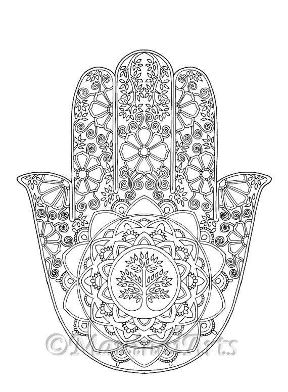 "Hand Drawn Adult Coloring Page Print - ""Hamsa Tree of Life"""