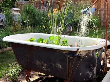 .: Diy Home Decor, Gardens Ideas, Water Gardens, Water Features, Recycled Ideas, Outdoor Decor, Bathtubs Planters, Fish Ponds, Bathtubs Ponds