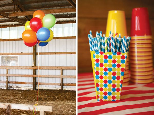 Carnival Theme Balloons | Colorful Carnival Themed First Birthday Party // Hostess with the ...