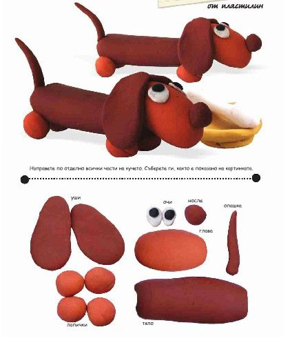 такса или как слепить собачку из пластилина для детей