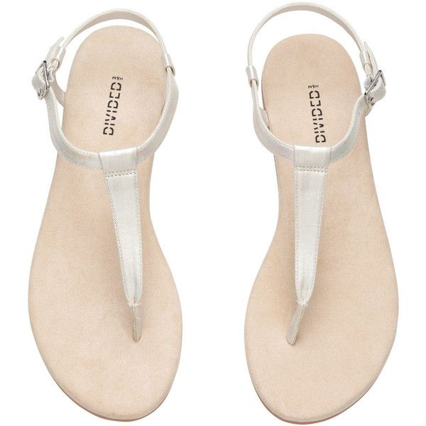 Shimmery Toe-post Sandals $14.99 found on Polyvore featuring shoes, sandals, thong strap sandals, flat thong sandals, toe thong sandals, synthetic shoes and white strap sandals