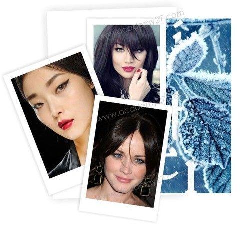 ЗИМА   Зима – чистый и холодный, контрастный тип внешности. У зимних девушек и женщин обычно серые, голубые, карие или синие глаза. Кожа преимущественно имеет холодный оттенок. Волосы могут быть черными, цвета холодного темного каштана или холодный благородный блонд с пепельным оттенком.