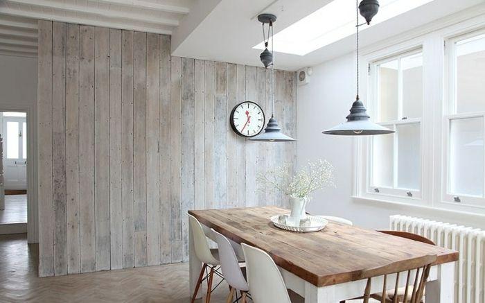 Rustikale Möbel Esszimmer Einrichten Pendelleuchte Weiße Stühle