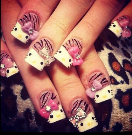 104 best hello kitty nail designs images on pinterest nail art hello kitty nail designs prinsesfo Choice Image