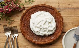 Deep-Dish Maple-Bourbon Cream Pie- RECIPE IMAGE / Photo by Tara Donne, Prop Styling by Alex Brannian, Food Styling by Cyd McDowell