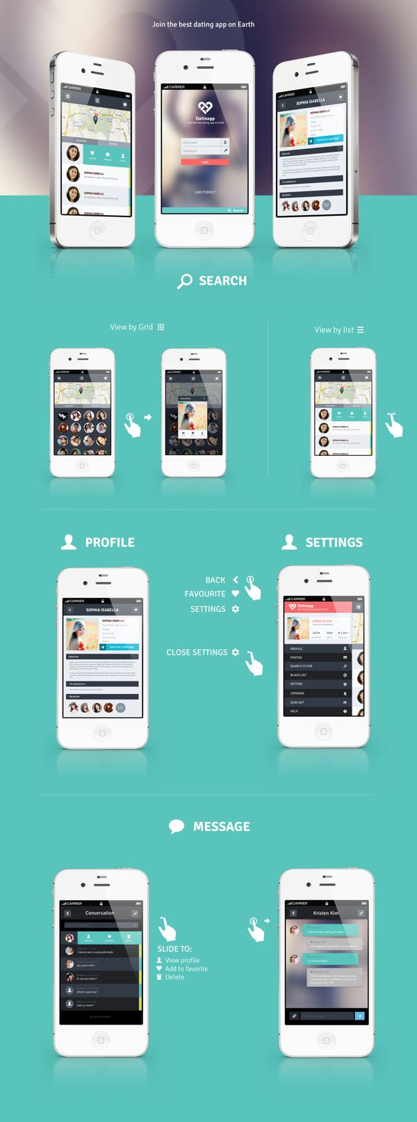 IOS Dating App Proposal *** An unused proposal for a dating app design by Tony Huynh, via Behance