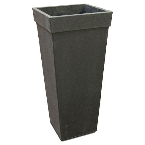 20 Recycled Planter Square Tapered Black Smith Hawken Front