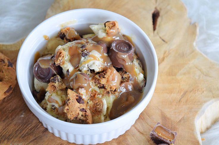❤️ Karamel ijs gevuld met Chocolade Chip Cookies