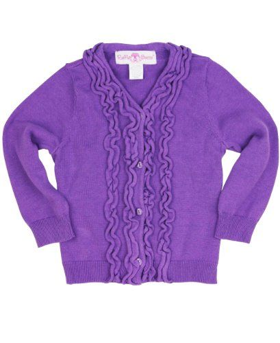 RuffleButts Toddler Girls Purple Sweater Knit Ruffled Cardigan ...
