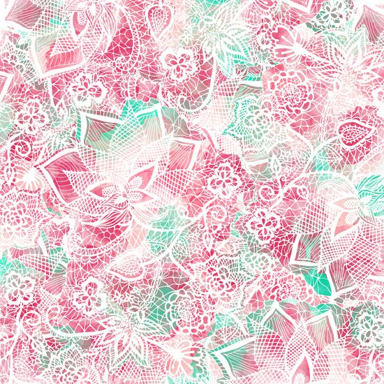 Handdrawn lace pink teal floral watercolor pattern Art Print