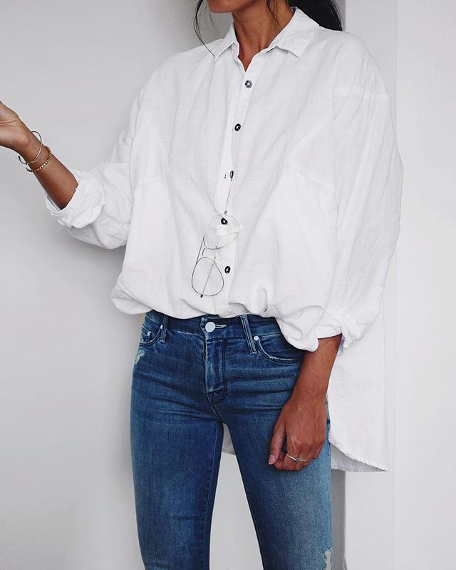 back to basics: white button up + skinny denim @dcbarroso