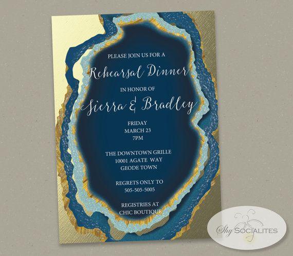Blue Gold Dipped Agate Slice Invitation | Gold Foil, Geode, Wedding, Bridal Shower, Rehearsal Dinner, Couple's Shower | INSTANT DOWNLOAD