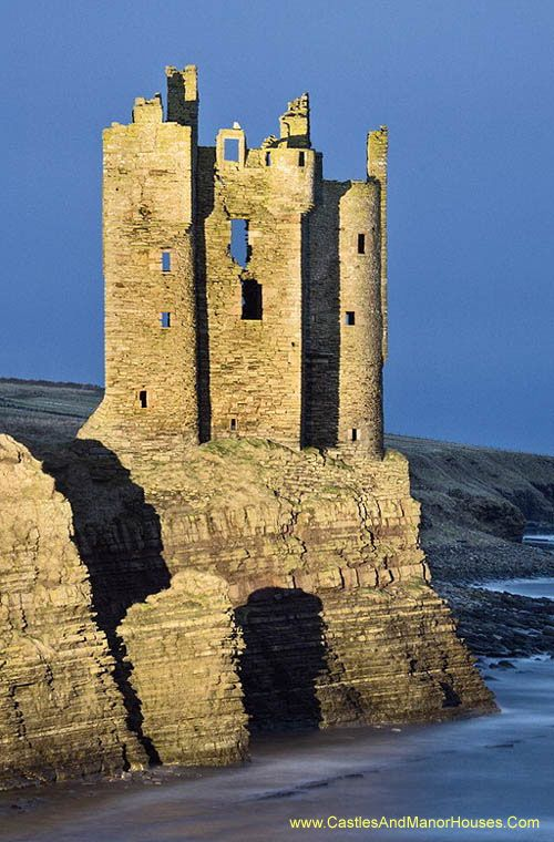 Keiss Castle, Caithness, Scotland, UK - a partially ruined castle on sheer…