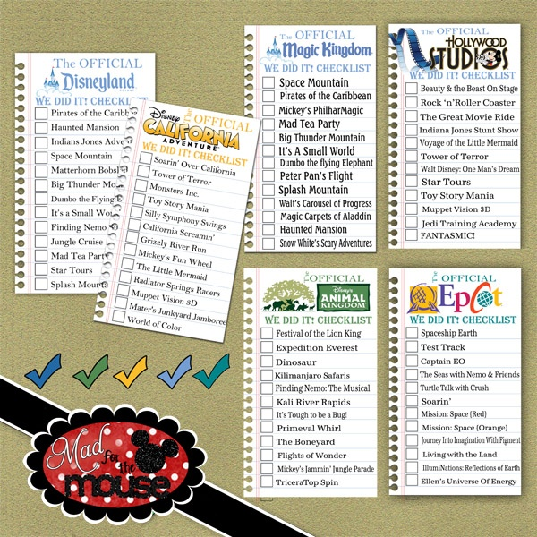 Disney Theme Parks checklists...... Going to have to use these (: