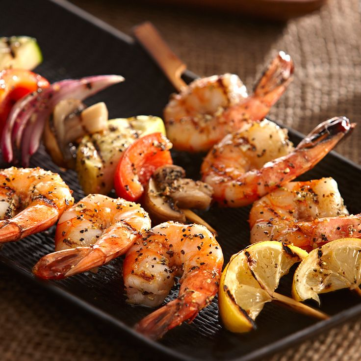 Shrimp and Vegetable Kabobs loaded with flavor and little fat...seasoned with Perfect Pinch® Lemon & Pepper Seasoning.