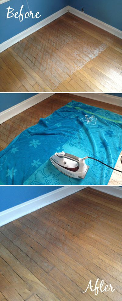 Home Hack # 2: To fix water-stained wood floors place a towel over the spot, and run a hot iron over it.